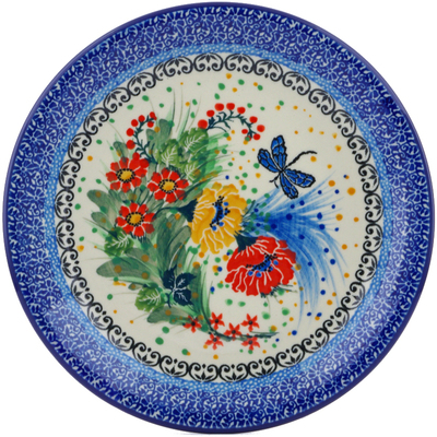"Polish Pottery Plate 8"" Dragonfly Meadow UNIKAT"