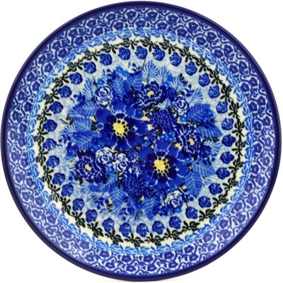 "Polish Pottery Plate 8"" Fields Of Blue UNIKAT"