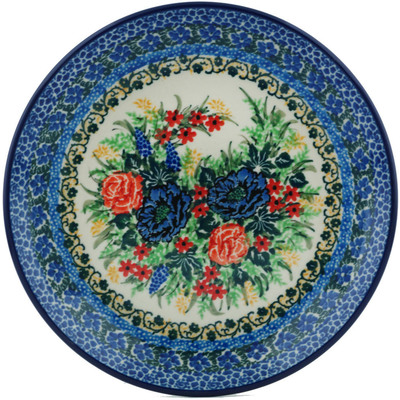 "Polish Pottery Plate 8"" Flower Song UNIKAT"