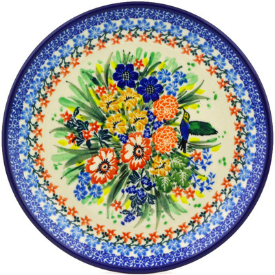 "Polish Pottery Plate 8"" Hummingbird Meadow UNIKAT"