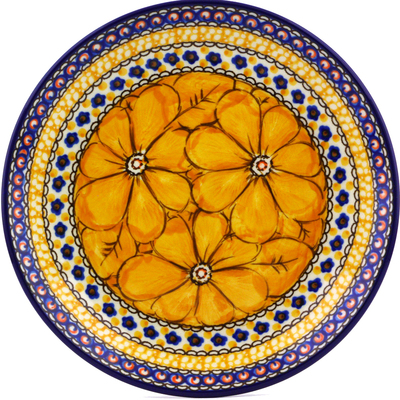 "Polish Pottery Plate 8"" Marigold Dreams UNIKAT"