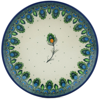 "Polish Pottery Plate 8"" Peacock Feather"