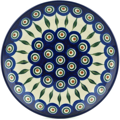 "Polish Pottery Plate 8"" Peacock Leaves"