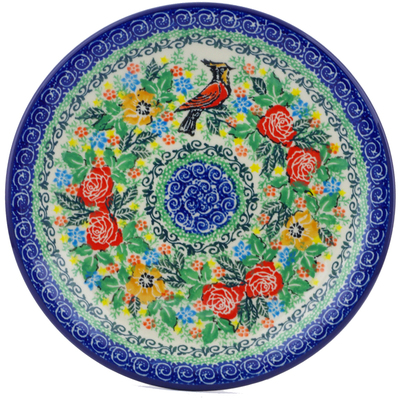 "Polish Pottery Plate 8"" Red Robin Roses UNIKAT"