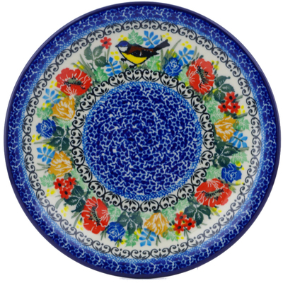 "Polish Pottery Plate 8"" Robin's Wreath UNIKAT"