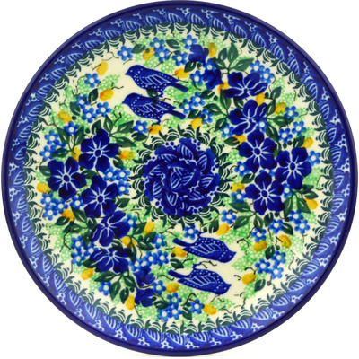 "Polish Pottery Plate 8"" Sitting Blue Birds UNIKAT"