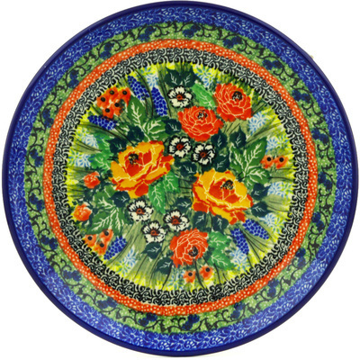 "Polish Pottery Plate 8"" Splendid Morning Glow UNIKAT"