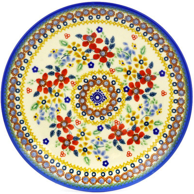 "Polish Pottery Plate 8"" Summer Bouquet UNIKAT"