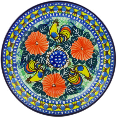 "Polish Pottery Plate 8"" Summer Rooster UNIKAT"