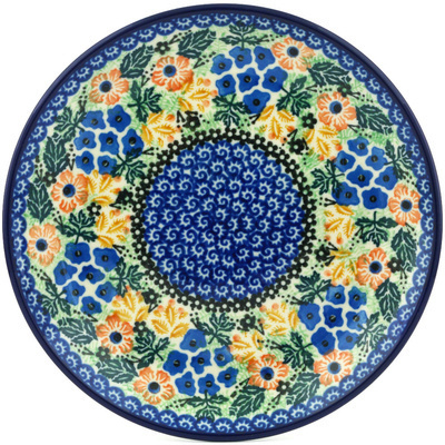 "Polish Pottery Plate 8"" Summer Wildflowers UNIKAT"