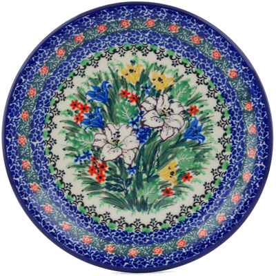 "Polish Pottery Plate 8"" White Lily Meadow UNIKAT"