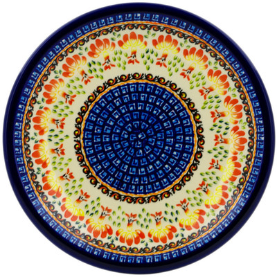 "Polish Pottery Plate 9"" Blooming Red"