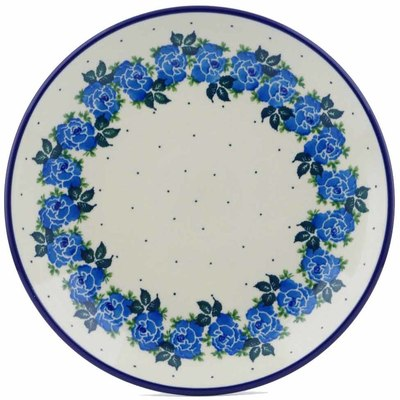 "Polish Pottery Plate 9"" Blue Garland"