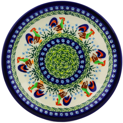"Polish Pottery Plate 9"" Country Rooster UNIKAT"