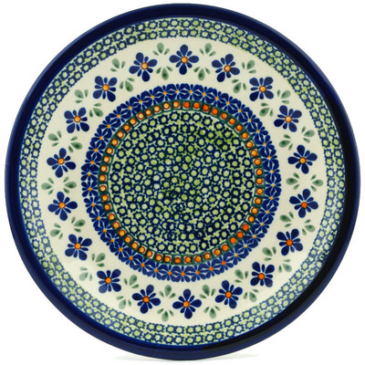 "Polish Pottery Plate 9"" Gingham Flowers"