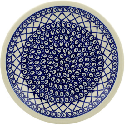 "Polish Pottery Plate 9"" Lattice Peacock"