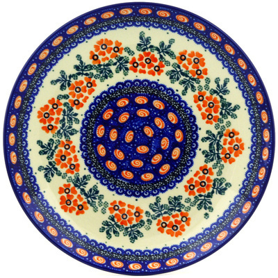 "Polish Pottery Plate 9"" Red Floral Harmony UNIKAT"