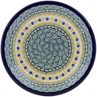 "Polish Pottery Plate 9"" Tiny Daisy Dots"