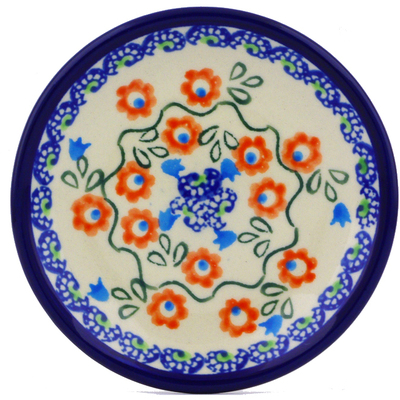 Polish Pottery Plate Small Tulip Vines