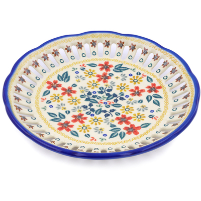 "Polish Pottery Plate with Holes 9"" Red Anemone Meadow UNIKAT"