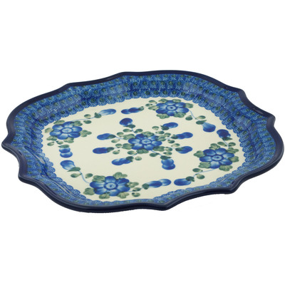 "Polish Pottery Platter 10"" Blue Poppies"
