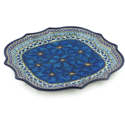 "Polish Pottery Platter 10"" Cobalt Poppies UNIKAT"