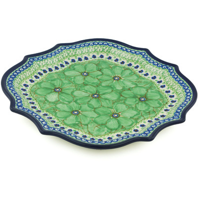 "Polish Pottery Platter 10"" Key Lime Dreams UNIKAT"