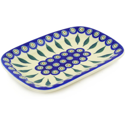 "Polish Pottery Platter 10"" Peacock"