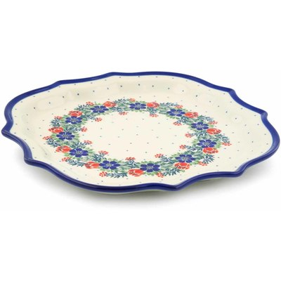 "Polish Pottery Platter 10"" Polish Wreath"
