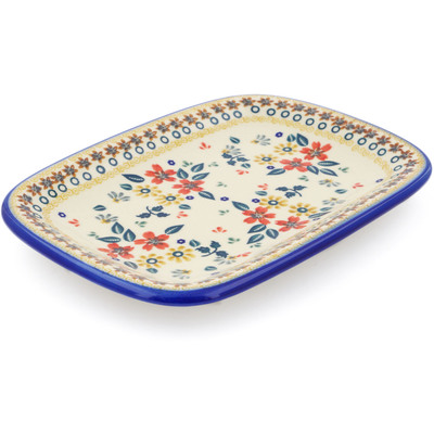 "Polish Pottery Platter 10"" Red Anemone Meadow UNIKAT"