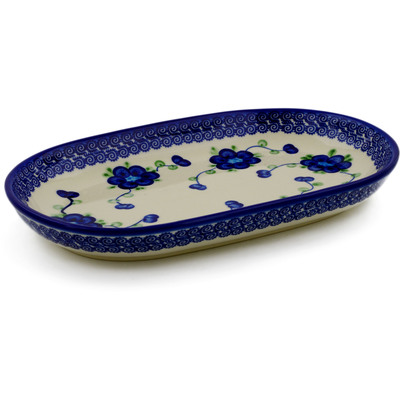 "Polish Pottery Platter 11"" Blue Poppies"