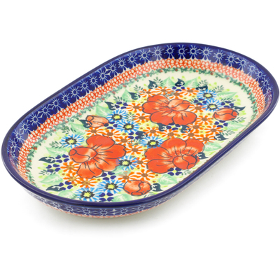 "Polish Pottery Platter 11"" Bold Poppies UNIKAT"