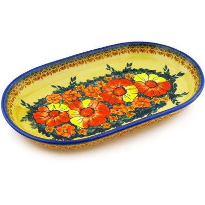 "Polish Pottery Platter 11"" Poppy Love UNIKAT"