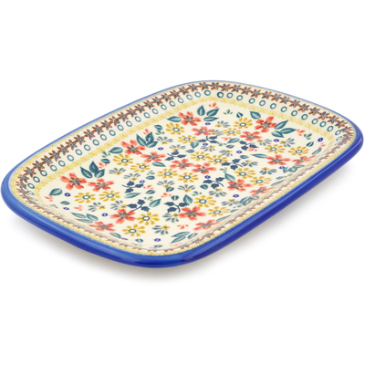 "Polish Pottery Platter 11"" Red Anemone Meadow UNIKAT"