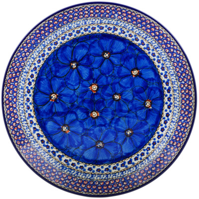 "Polish Pottery Platter 12"" Cobalt Poppies UNIKAT"