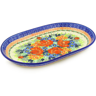 "Polish Pottery Platter 13"" Bold Poppies UNIKAT"