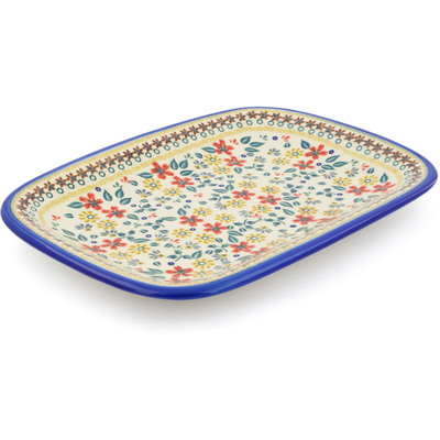 "Polish Pottery Platter 13"" Red Anemone Meadow UNIKAT"