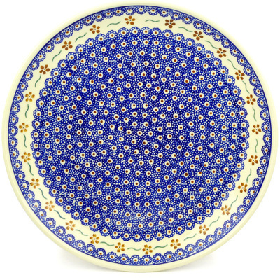 "Polish Pottery Platter 13"" Sweet Red Flower"