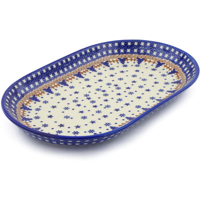 "Polish Pottery Platter 13"" Winter Snow"