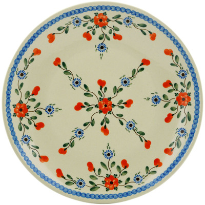 "Polish Pottery Platter 14"" Cherry Blossoms"