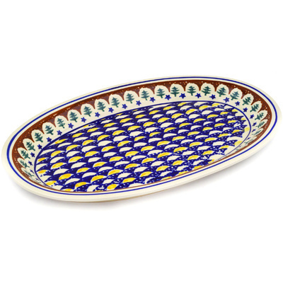 "Polish Pottery Platter 14"" Pine Boughs"