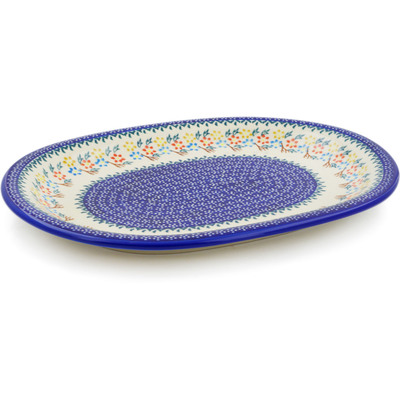 "Polish Pottery Platter 14"" Spring Flower Ring"