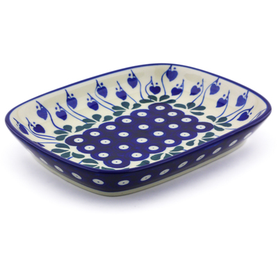 "Polish Pottery Platter 7"" Bleeding Heart Peacock"