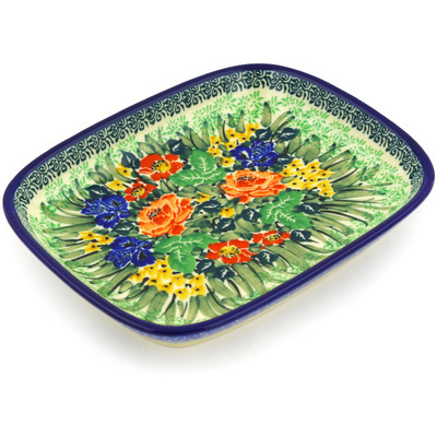 "Polish Pottery Platter 7"" Splendid Meadow UNIKAT"