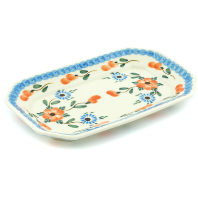 "Polish Pottery Platter 8"" Cherry Blossoms"
