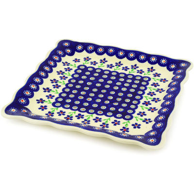 "Polish Pottery Platter 9"" Bright Peacock Daisy"
