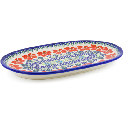 "Polish Pottery Platter 9"" Grecian Fields"