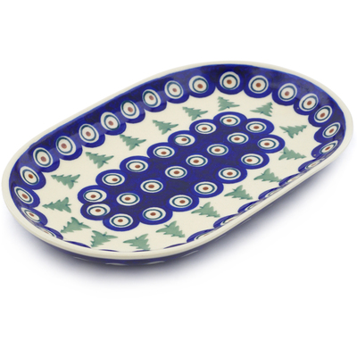 "Polish Pottery Platter 9"" Peacock Pines"