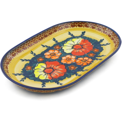 "Polish Pottery Platter 9"" Poppy Love UNIKAT"