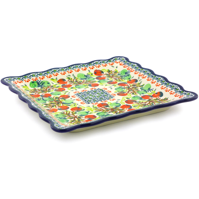 "Polish Pottery Platter 9"" Red And Green Berries"